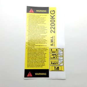 Pallet Truck Warning Instruction Sticker Set – 2200kg