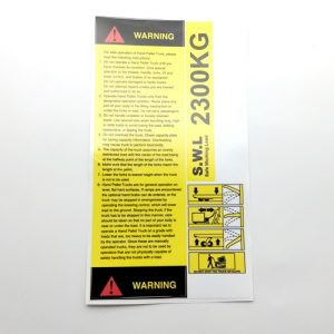 Pallet Truck Warning Instruction Sticker Set – 2300kg