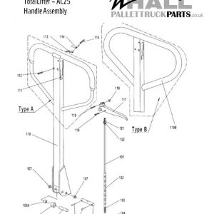 AC25 Pallet Truck – Handle Release Rod and Chain – AC101