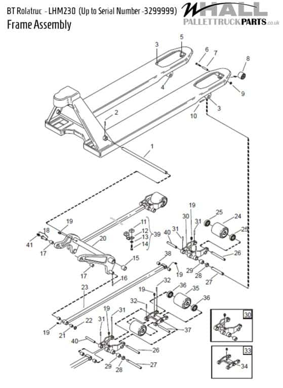 Frame Assembly Parts - BT LHM230 (Up to serial number: 3299999)