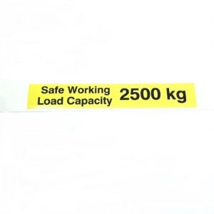 Safe Working Load SWL 2500kg – Pallet Truck Weight Capacity Safety Warning Sticker – x1no.