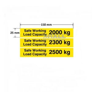 Safe Working Load SWL 2000kg – Pallet Truck Weight Capacity Safety Warning Sticker – x10no.