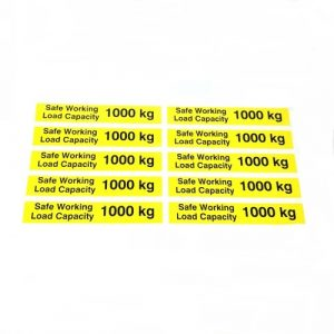 Safe Working Load SWL 1000kg – Pallet Truck Weight Capacity Safety Warning Sticker – x10no.