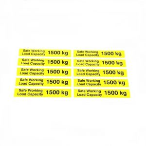 Safe Working Load SWL 1500kg – Pallet Truck Weight Capacity Safety Warning Sticker – x10no.