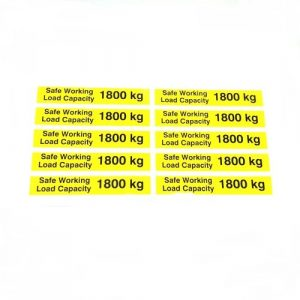 Safe Working Load SWL 1800kg – Pallet Truck Weight Capacity Safety Warning Sticker – x10no.