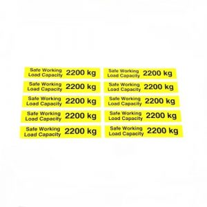 Safe Working Load SWL 2200kg – Pallet Truck Weight Capacity Safety Warning Sticker – x10no.