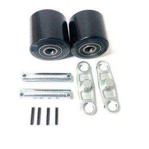 AC25- D82mm x 70mm Black PU Tandem Load Roller Complete Bogie Assembly