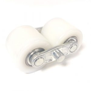 AC25- D82mm x 70mm White Nylon Tandem Load Roller Complete Bogie Assembly
